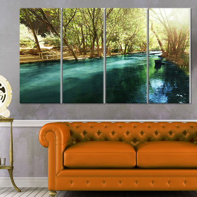 Designart Beautiful Small River in Forest Landscape Canvas Art Print - 4 Panels