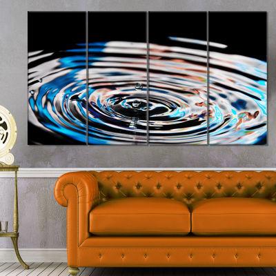 Designart Beautiful Splash of Purple Water LargeAbstract Canvas Wall Art - 4 Panels