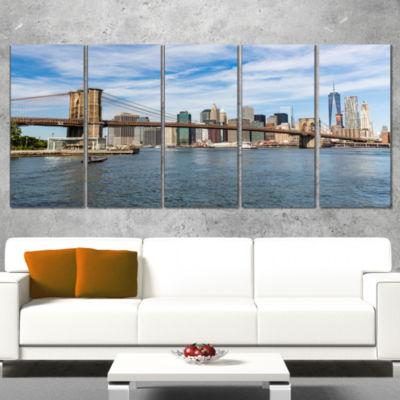 Designart Summer Day Brooklyn Bridge Cityscape Canvas Print- 4 Panels