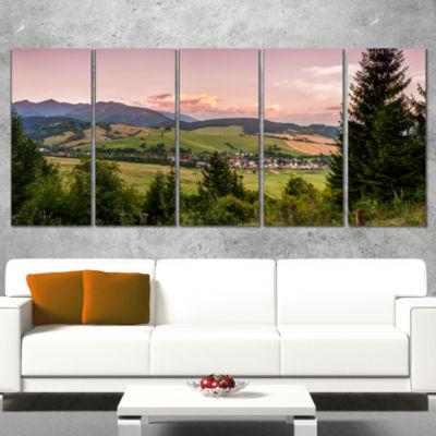 Designart Beautiful Stretch of Land Panorama Landscape Wrapped Canvas Art Print - 5 Panels