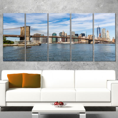 Summer Day Brooklyn Bridge Large Cityscape CanvasPrint - 5 Panels