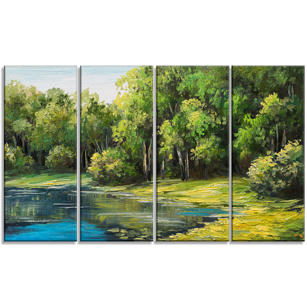 Designart Summer Day Lake in Forest Landscape ArtPrint Canvas - 4 Panels