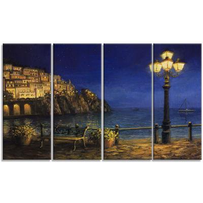 Designart Summer Evening in Amalfi Landscape Art Print Canvas - 4 Panels