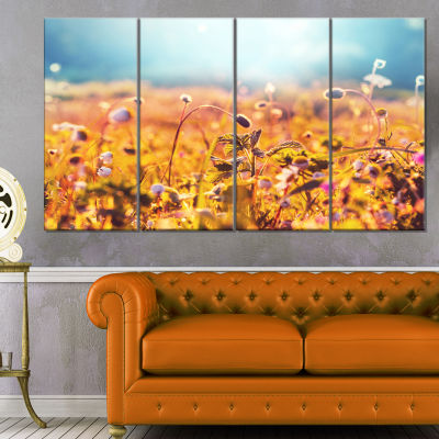 Designart Summer Field with Beautiful Flowers Floral CanvasArt Print - 4 Panels