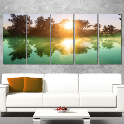 Designart Beautiful Summer River at Sunset Oversized Landscape Canvas Art - 5 Panels
