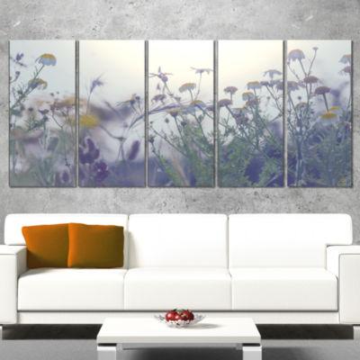Designart Summer Flowers in Foggy Light Large Flower CanvasWall Art - 5 Panels