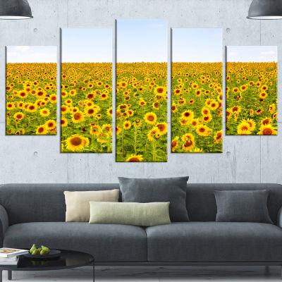 Designart Beautiful Sunflowers Garden Floral Wrapped Canvas Art Print - 5 Panels