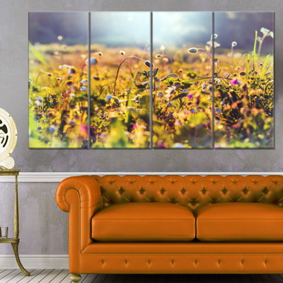 Designart Summer Flowers on Sunny Day Floral Art Canvas Print - 4 Panels