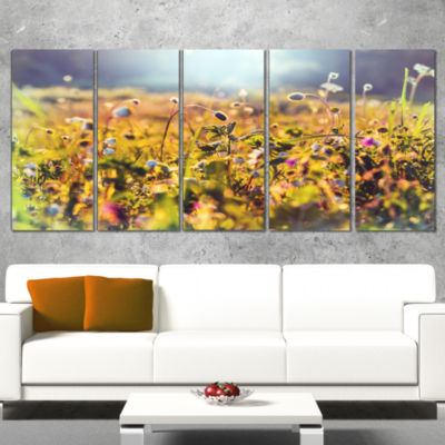 Designart Summer Flowers on Sunny Day Floral Art Wrapped Print - 5 Panels
