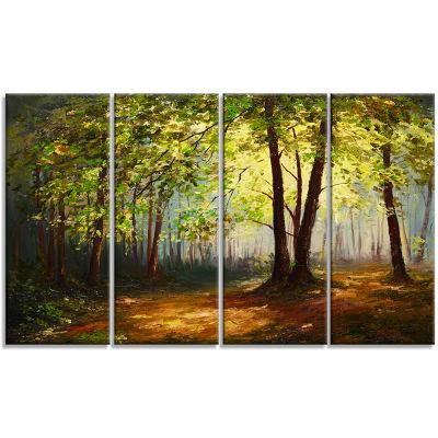 Designart Summer Forest Landscape Art Print Canvas- 4 Panels