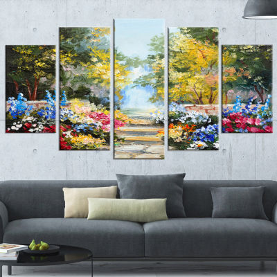 Designart Summer Forest with Flowers Landscape ArtPrint Canvas - 4 Panels