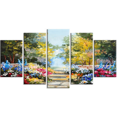 Designart Summer Forest with Flowers Landscape ArtPrint Canvas - 5 Panels