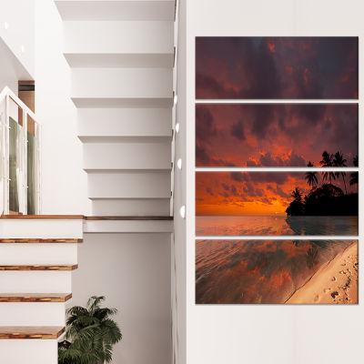 Designart Beautiful Sunset at Tropical Beach Seashore Canvas Art Print - 4 Panels