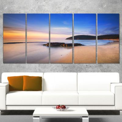 Designart Beautiful Sunset in Cala Violina BeachExtra LargeSeashore Wrapped Canvas Art - 5 Panels