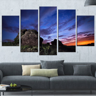 Designart Summer Night Blue Sky Landscape Photography CanvasArt Print - 4 Panels