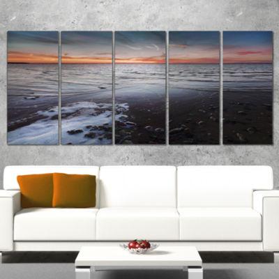 Designart Beautiful Sunset On Chudskoy Lake Seashore Wrapped Canvas Art Print - 5 Panels