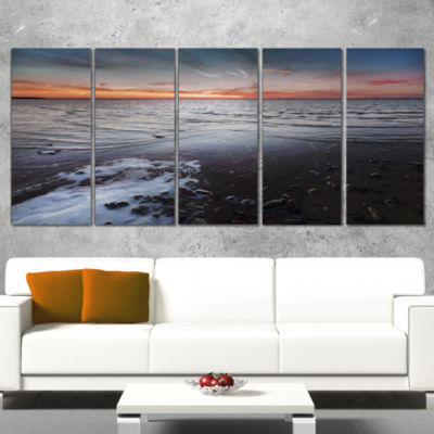 Designart Beautiful Sunset On Chudskoy Lake Seashore Canvas Art Print - 5 Panels
