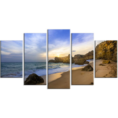 Designart Beautiful Sunset Over Algarve PortugalExtra LargeSeashore Wrapped Canvas Art - 5 Panels