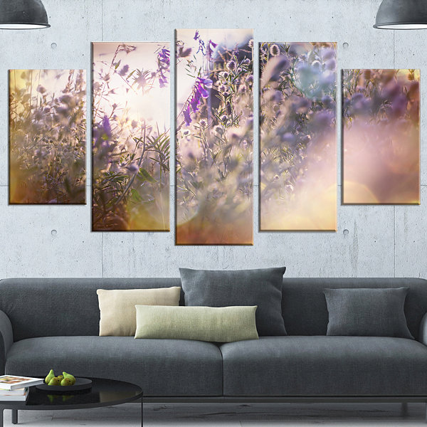 Designart Summer Pasture with Purple Flowers ExtraLarge Landscape Wrapped Art - 5 Panels