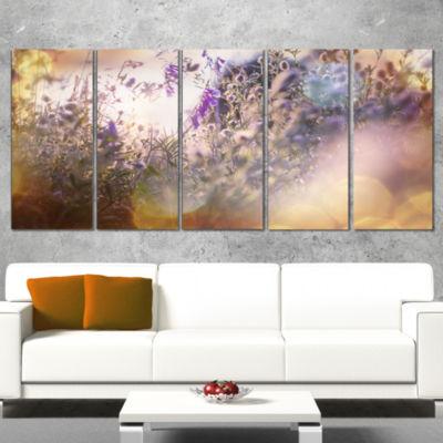 Designart Summer Pasture with Purple Flowers ExtraLarge Landscape Canvas Art - 5 Panels