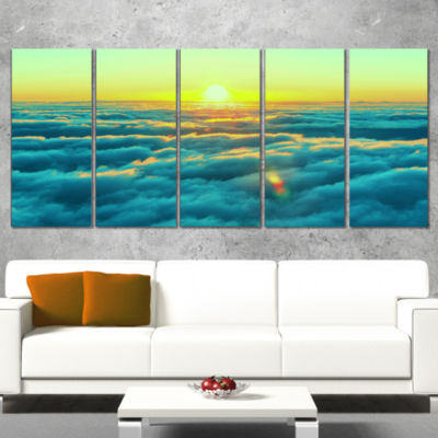 Designart Beautiful Sunset Over Blue Clouds Landscape Canvas Art Print - 5 Panels