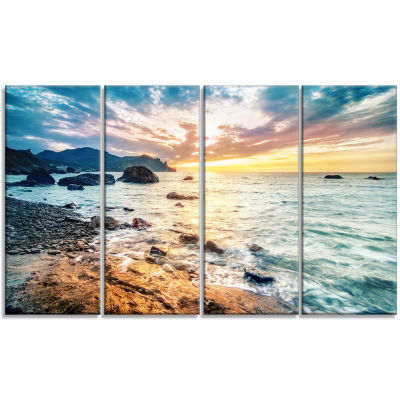 Summer Sea with Mountains and Waves Seashore Canvas Art Print - 4 Panels