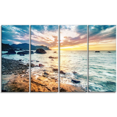 Designart Summer Sea with Mountains and Waves Seashore Canvas Art Print - 4 Panels
