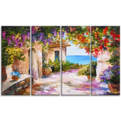Designart Summer Seascape Landscape Art Print Canvas - 4 Panels