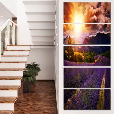 Designart Beautiful Sunset Over Lavender Field Floral Canvas Art Print - 5 Panels