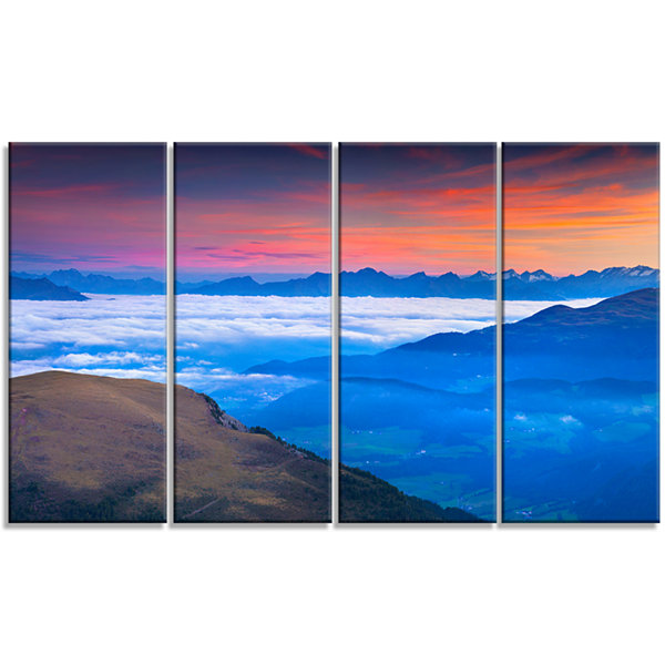 Designart Summer Sunrise in Italian Alps LandscapePhoto Canvas Art Print - 4 Panels