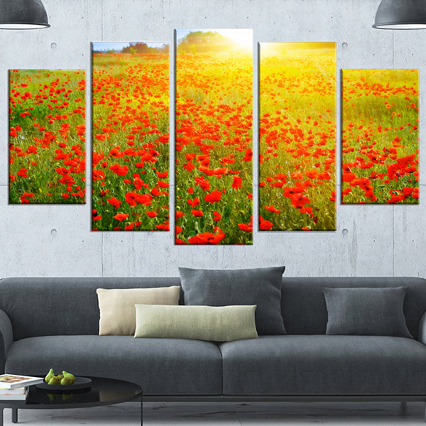 Designart Beautiful Sunshine Over Poppy Fields Floral Wrapped Canvas Art Print - 5 Panels