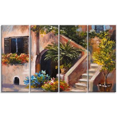 Designart Summer Terrace Landscape Art Print Canvas - 4 Panels