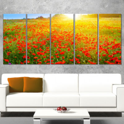Designart Beautiful Sunshine Over Poppy Fields Floral Canvas Art Print - 5 Panels