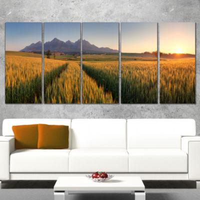 Designart Summer Wheat Fields Slovakia Landscape Artwork Canvas - 4 Panels