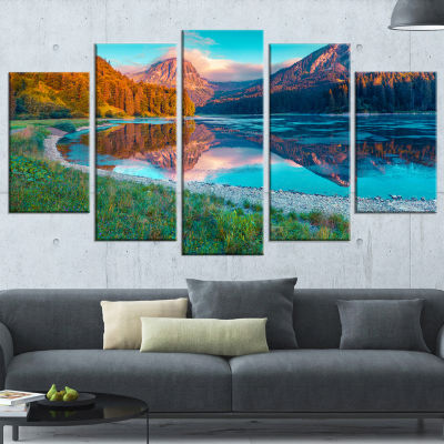 Designart Beautiful Swiss Lake Obersee Large Landscape Photography Canvas Print - 5 Panels