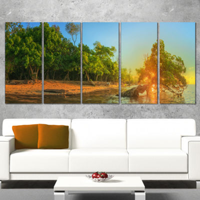Designart Beautiful Thailand Tropical Beach Oversized Landscape Wrapped Wall Art Print - 5 Panels