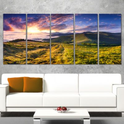 Designart Sun Break Over Summer Mountains Landscape Photography Canvas Print - 4 Panels