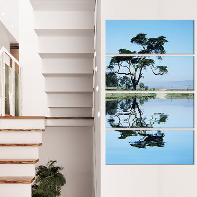 Designart Beautiful Tree Reflecting in Lake Oversized Landscape Canvas Art - 4 Panels