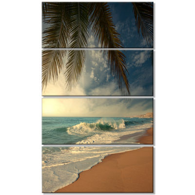 Designart Beautiful Tropical Beach with Palms Beach Photo Canvas Print - 4 Panels