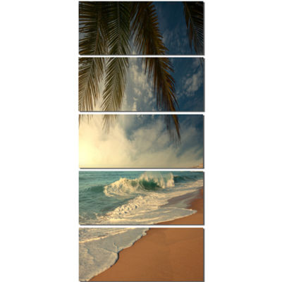 Designart Beautiful Tropical Beach with Palms Beach Photo Canvas Print - 5 Panels