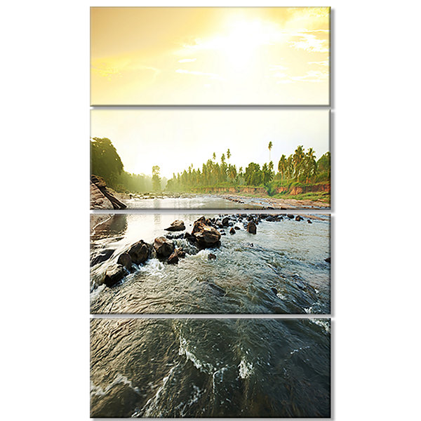 Designart Beautiful Tropical River with Clean Water Large Seashore Canvas Print - 4 Panels