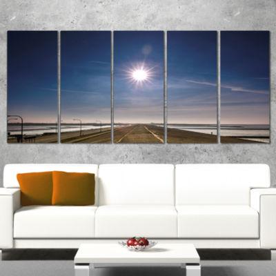 Designart Sun in Blue Sky on Dyke Germany Landscape Print Wrapped Wall Artwork - 5 Panels
