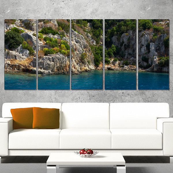 Designart Beautiful Turkey Tropical Beach Landscape Print Wall Artwork - 5 Panels