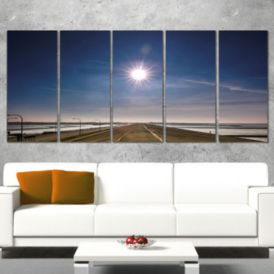 Designart Sun in Blue Sky on Dyke Germany Landscape Print Wall Artwork - 5 Panels