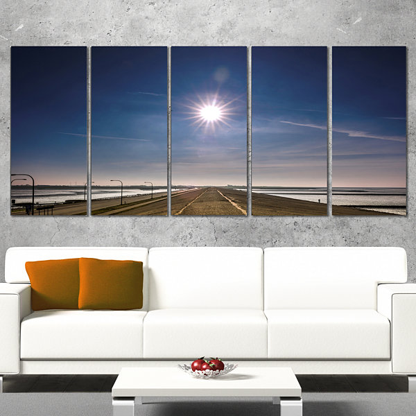 Designart Sun in Blue Sky on Dyke Germany Landscape Print Wall Artwork - 5 Panels