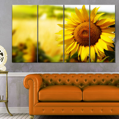 Designart Beautiful Tuscany Sunflower Floral Canvas Art Print - 4 Panels