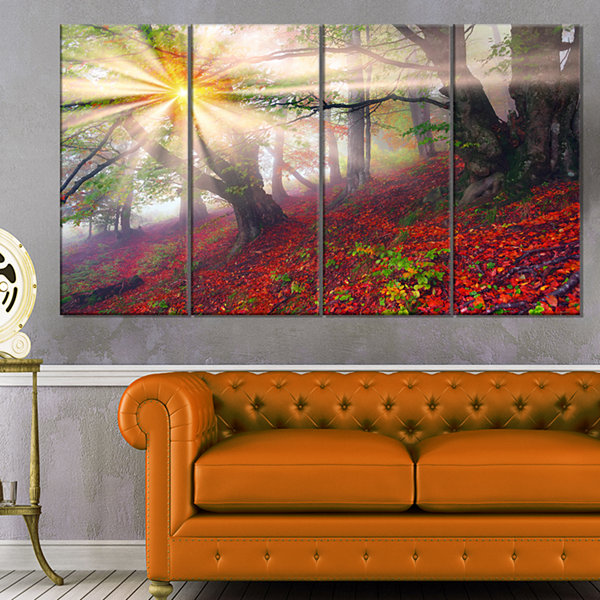 Designart Sun in Forest After Heavy Storm Landscape Photography Canvas Print - 4 Panels