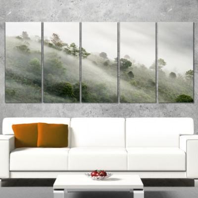 Designart Sun Rays Illuminating Foggy Forest Landscape Photography Canvas Print - 4 Panels