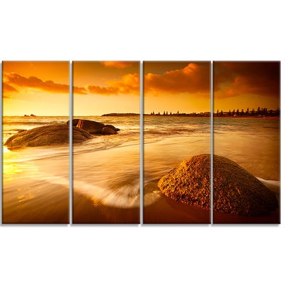 Designart Sun Tinted Beach Photography Canvas ArtPrint - 4Panels