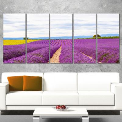 Designart Sunflower and Lavender Fields LandscapeCanvas Wall Art - 4 Panels